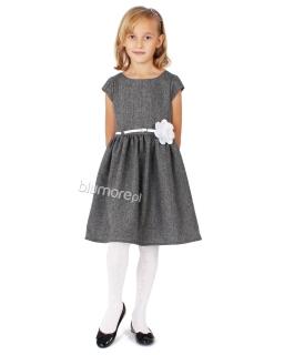 Tweedowa sukienka ze srebrną nitką 74-140 Lucyna 2 szara