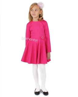 Sukienka z tłoczonego materiału 80 - 140 Karolinka fuksja