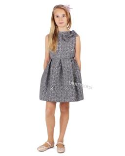 Piękna galowa sukienka z kokardą 128 - 158 Tina szara