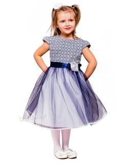 Wyjątkowa balowa sukienka 92-152 Sabrina granat plus biel