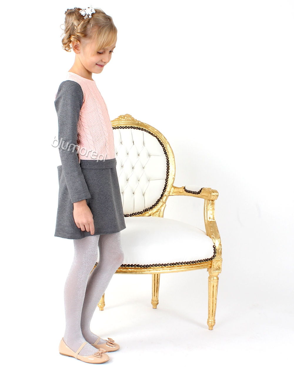 Sukienka prosta i elegancka 104 - 158 Marika szary + róż