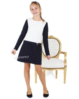 Wygodna sukienka z długim rękawem 104 - 158 Marika granat + biały
