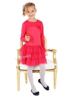 Zjawiskowa suknia dziewczęca z tiulem 110 - 140 Anastazja malina