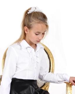 Elegancka bluzka dla dziewczynki do szkoły 122 - 158 Ela biała