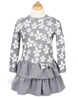 Urocza sukienka dziewczęca 86 - 110 Stokrotka szara