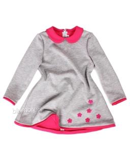 Świąteczna sukienka dla dziewczynki 86 - 110 Lenka szary plus róż