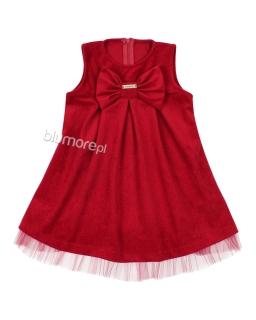 Wyjątkowa welurowa sukienka z kokardą 86 - 116 Sylwia bordo