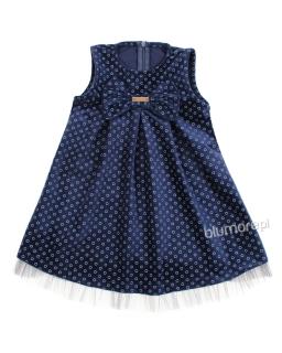 Świąteczna welurowa sukienka z kokardą 86 - 116 Sylwia niebieska