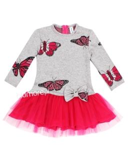 Sukienka w motylki zakończona tiulem 86 - 128 Dominika szary plus róż