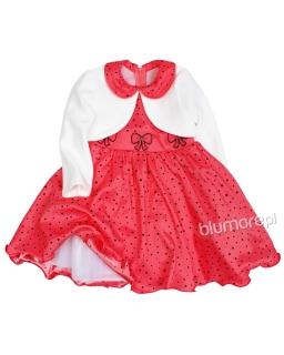Elegancka suknia i bolerko na święta 86 - 128 Jowita czerwona