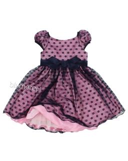 Wyjątkowa galowa sukienka z piękną kokrdą 104-128 Jagoda granat plus róż