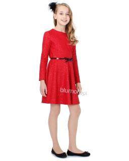 Wyjątkowa sukienka z paskiem 128-158 Heidi czerwona