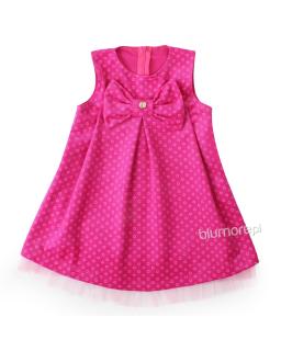 Świąteczna welurowa sukienka z kokardą 86 - 116 Sylwia różowa