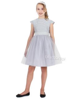 Romantyczna sukienka z lekkim tiulowym dołem 98-152 Dolores szara