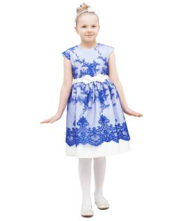 Sukienka z pięknymi haftami 146-158 Flora niebieski