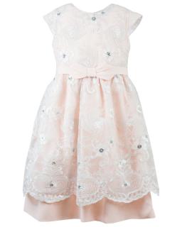 Sukienka z haftowaną koronką 146-158 Flora brzoskwinia