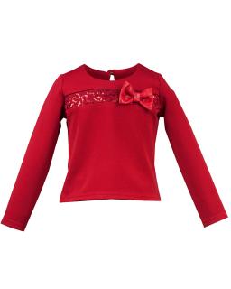 Bluzka z kokardą i cekinami 104-122 Ivet czerwony