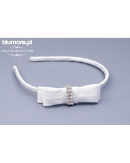 Biała opaska dla dziewczynki, kokarda z diamentami P09