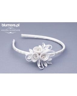 Wyjątkowe białe róże opaska nowość OP10