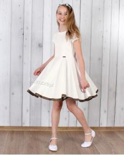 Strojna sukienka szyta z koła 128 - 158 Oleńka ecru
