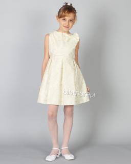 Gustowna sukienka z wyszytymi kwiatami 134-158 Tina ecru plus złoto