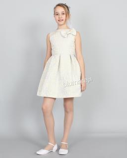 Kapitalna wzorzysta sukienka 140-164 Tina złoto plus szary