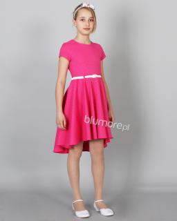 Fikuśna sukienka z dłuższym tyłem 128-158 Adrianna fuksja
