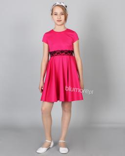 Ujmująca sukienka dla małej modnisi 128-158 Konstancja fuksja