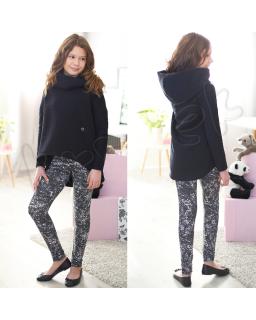 Marmurkowe legginsy dla dziewczynek 116-158 czarny plus biały