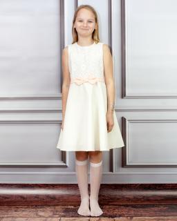 Urzekająca sukienka dla dziewczynki 140-158 Emilia ecru