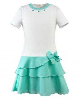 Twarzowa sukienka 122-158 Penny ecru plus mięta