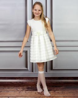Subtelna sukienka dziewczęca 128-152 Agata ecru