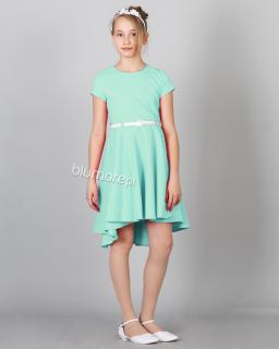 Szykowna sukienka z krótkim przodem 128-158 Adrianna miętowy