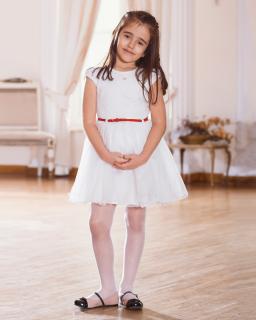Wyjątkowa sukienka z tiulami 128-158 Megan ecru