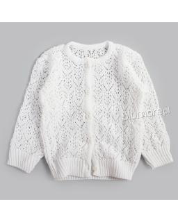 Urokliwy ażurowy sweterek 92-146 DZ-365 Biały