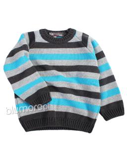 Chłopięcy sweterek w paski 92-128 CH-312 Szary plus grafit