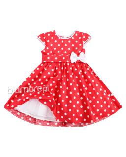 Piękna suknia w grochy dla dziewczynki 80 - 146 Kasia czerwona