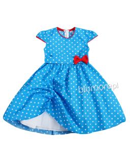 Dziewczęca sukienka 104-116 Kasia niebieska duże grochy