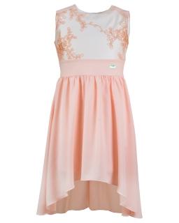 Weselna sukienka z krótkim przodem 146-164 Sandra brzoskwiniowy