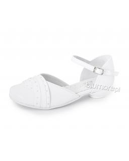Szykowne buciki z modną aplikacją 28-38 Inka biały