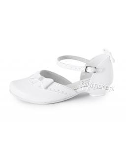 Wizytowe pantofelki z kokardką 28-38 Lidia biały