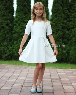 Elegancka sukienka z kokardą na plecach 104-164 Ewa ecru