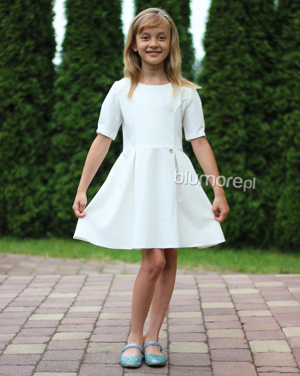 919a2f64f5 Elegancka sukienka z kokardą na plecach 104-164 Ewa ecru