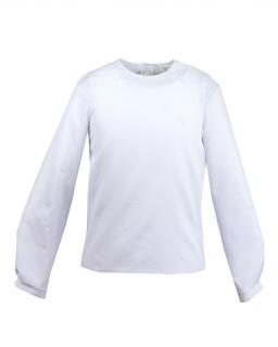 Gładka zwiewna bluzka z koronkową wstawką 122-164 Livia biel