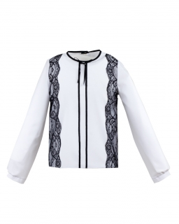 Bluzka z koronkowymi wstawkami 122-164 Adriana biel plus czerń