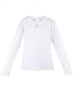 Szykowna biała bluzeczka 116-140 Carmen długi rękaw