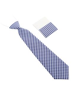 Modny krawat dla chłopca w niebieską kratkę 28 cm