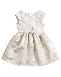 Błyskotliwa sukienka z białym paskiem 62 - 152 Tacjana 4 złoto plus beż