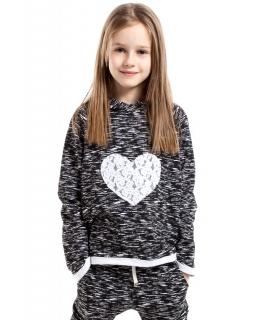 Sportowa bluza z sercem KI023 Czarny melanż