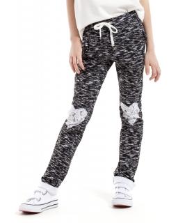 Spodnie baggy z koronkowymi sercami 98-140 KI022 Czarny melanż